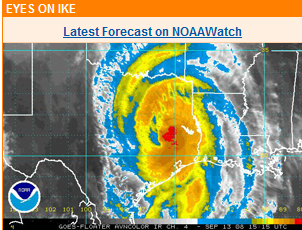Hurricane Ike radar picture