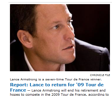Lance Armstrong to compete in 2009 Tour de France
