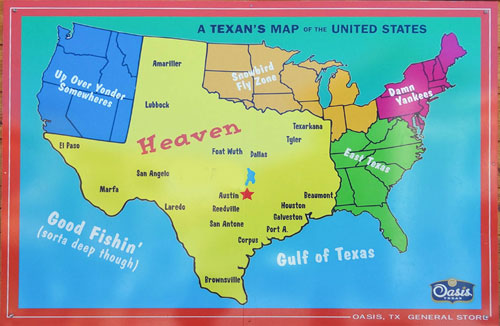 A Texans' Map of the USA