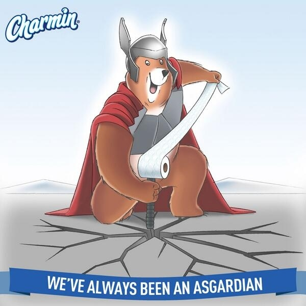 Charmin, tweet, thor, pun, taken down, funny, picture